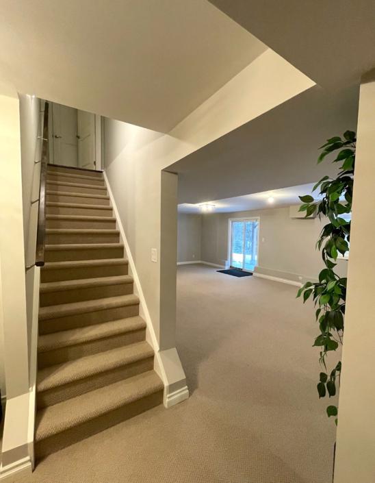 Custom Basement Reno Stairs and Walkout Sliding Door