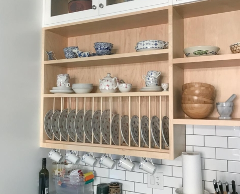 Cottage Style Shelving with Plate Rack